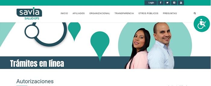 sitio web de Savia Salud EPS