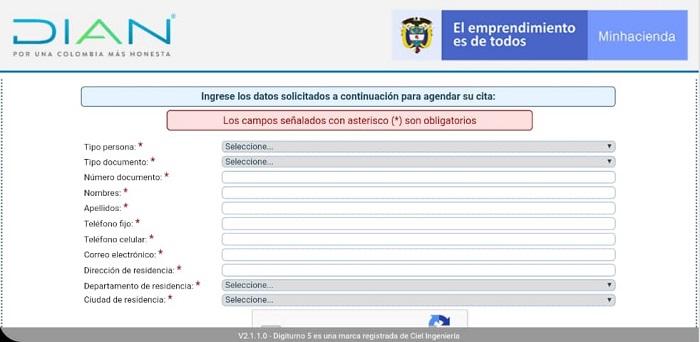 sitio web del Sistema de Agendamiento Virtual