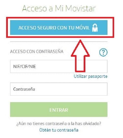 Acceso seguro con tu m贸vil Movistar.