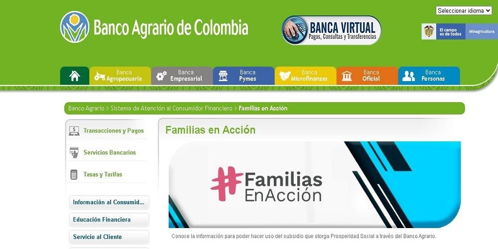 Consultar saldo de familia en acción mediante banco agrario de Colombia